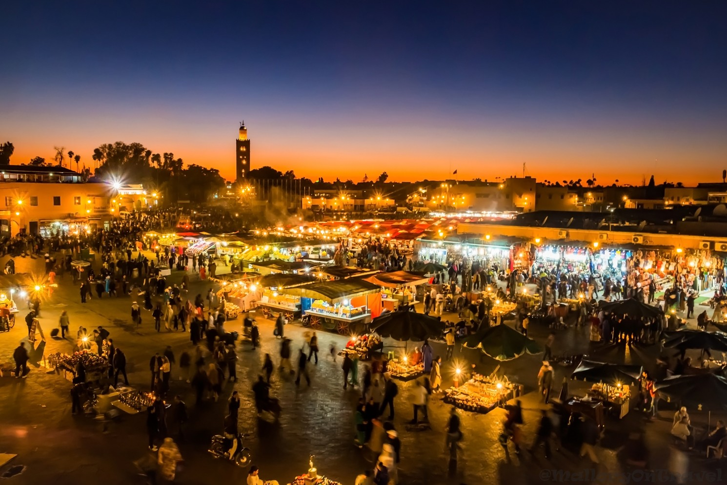 Djemaa-el-Fna at sunset in the Medina of Marrakech, Morocco in North Africa on Mallory on Travel adventure travel, photography, travel Iain_Mallory_Mor16240