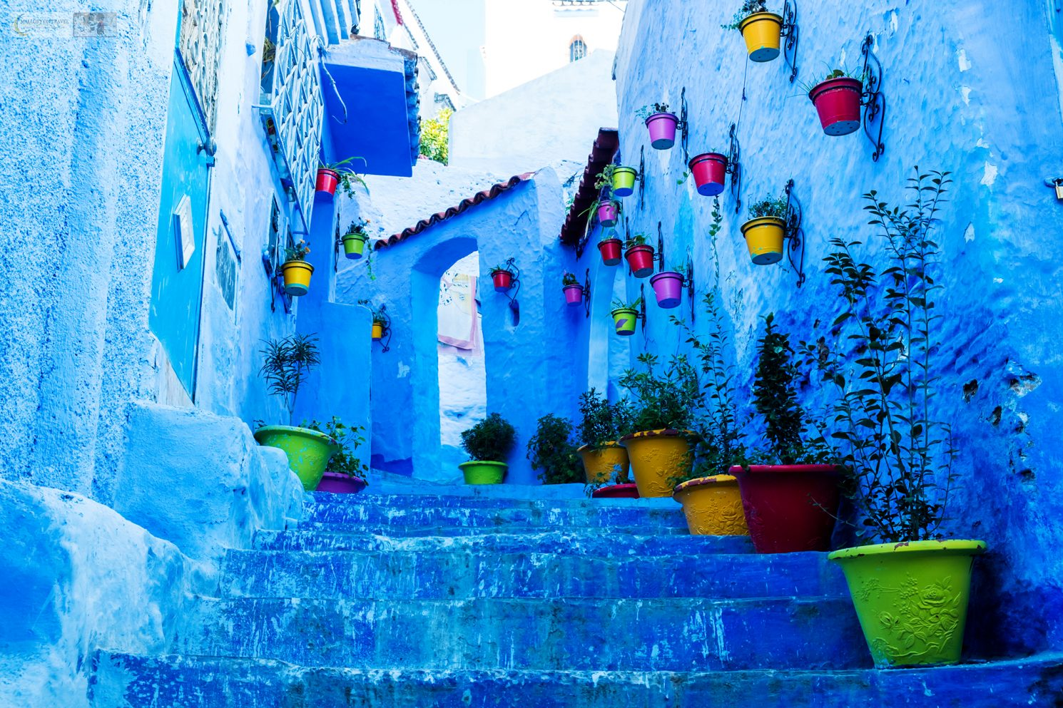 The colourful streets of Chefchaouen, the Blue City in the Rif Mountains of northern Morocco in North Africa on Mallory on Travel adventure travel, photography, travel Iain Mallory_Morocco 048