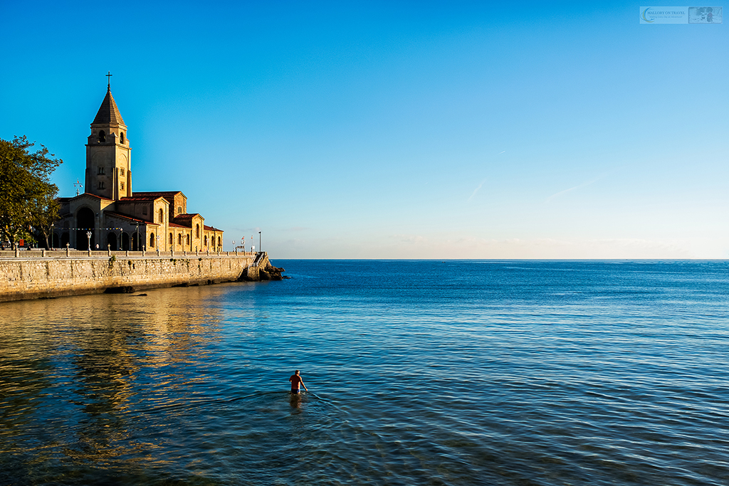 An elderly Spaniard going swimming in the sea at Gijon in Asturias in Green Spain on Mallory on Travel adventure travel, photography, travel Iain Mallory_Spain 019