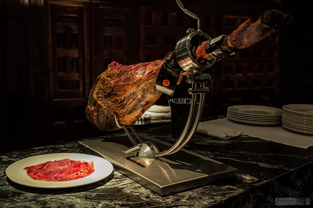 A leg of Serrano ham at Hospederia Los Parajes in Laguardia in the Basque Country in the Green Spain region of northern Spain on Mallory on Travel adventure travel, photography, travel Iain Mallory_Spain 005 (2)