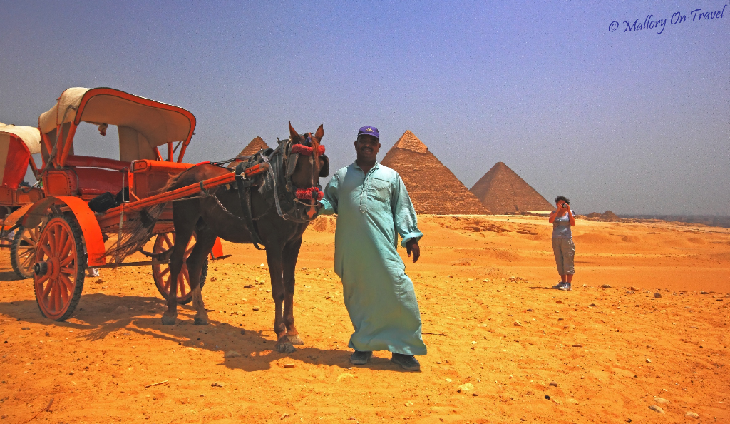 Transportation at the great Pyramids of Giza, on the banks of the African Nile in Egypt on Mallory on Travel, adventure, adventure travel, photography