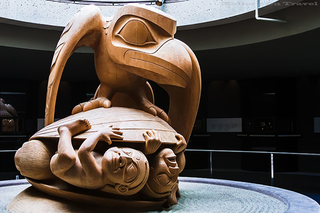 "Indigenous culture; The Bill Reid sculpture ""The Raven and First Men"" displayed in the University of British Columbia's Museum of Anthropology in Vancouver, Canada on Mallory on Travel adventure travel, photography, travel Iain_Mallory_Can1400647"