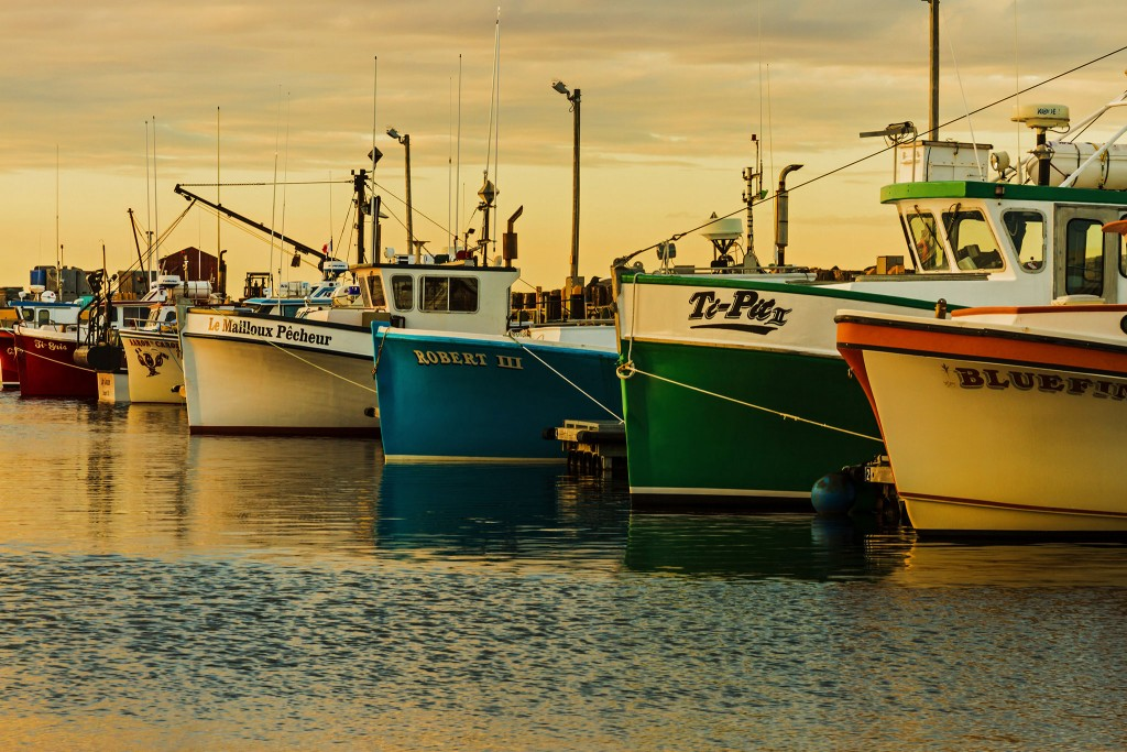 Fishing boats at sunset in Caraquet, New Brunswick in Canada