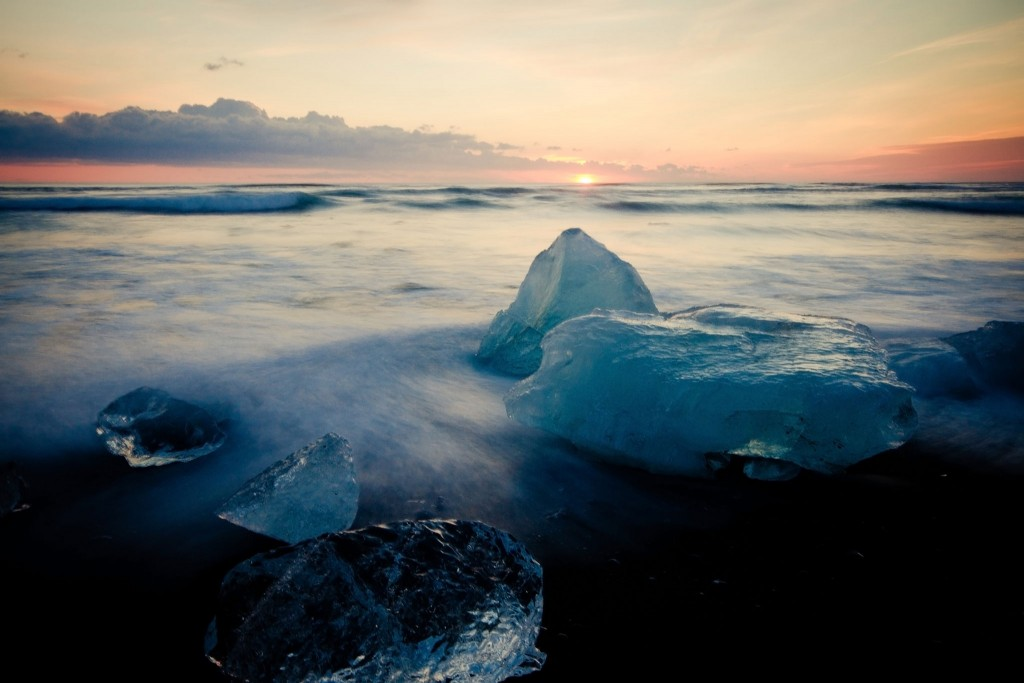 Icebergs on an Icelandic beach