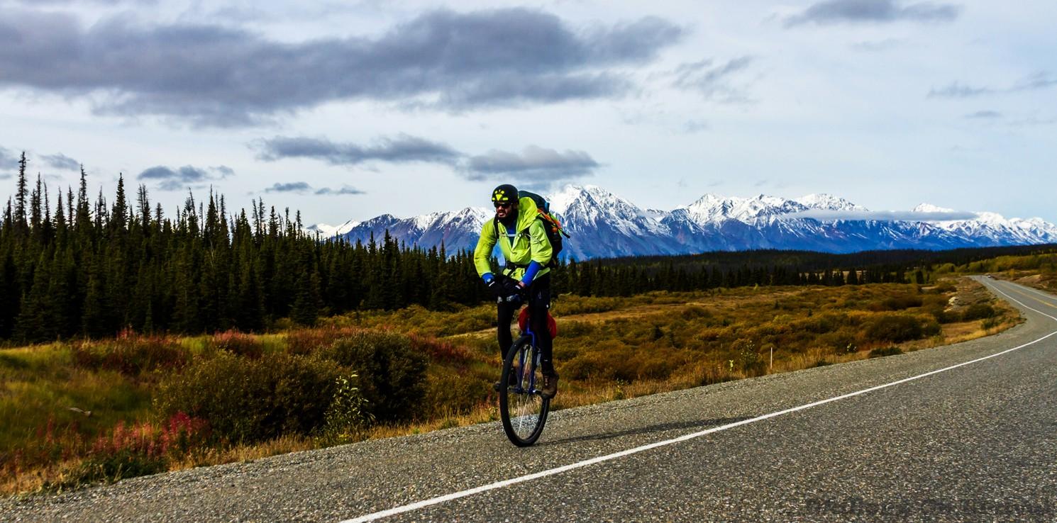 Unicyclist Zero Point Sid on the Alaska Highway heading towards Haines Junction in The Yukon, Canada on Mallory on Travel adventure travel, photography, travel Iain_Mallory_Yukon1412573