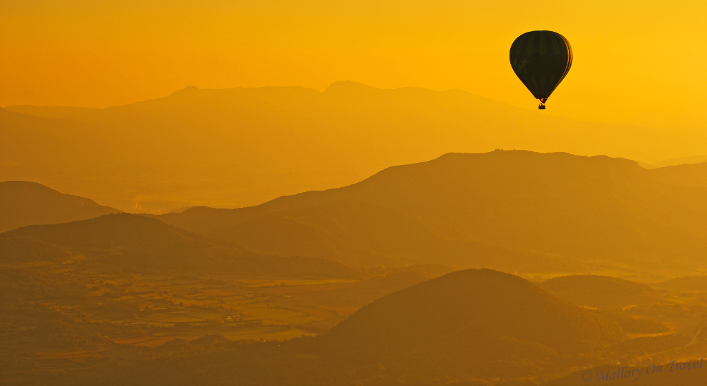 Dream ride; A hot air balloon in La Garrotxa Volcanic Zone Natural Park (Parque Natural Zona Volcánica de la Garrotxa) in Costa Brava in the Catalonian Pyrenees, Spain on Mallory on Travel adventure travel, photography, travel Iain_Mallory_067701