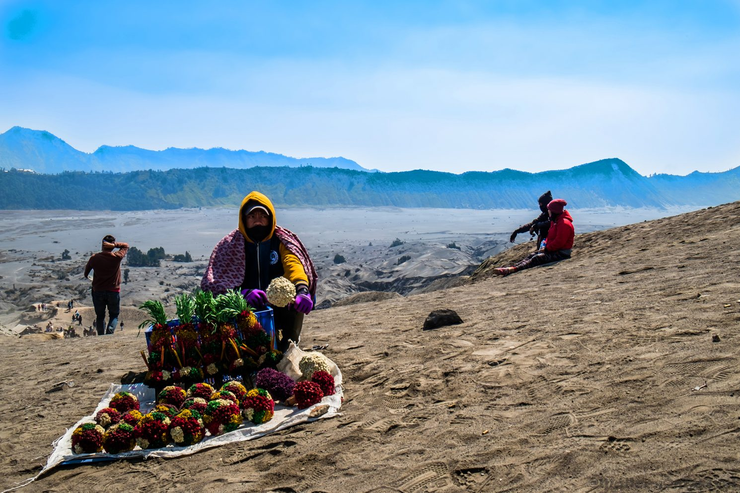 A shrine salesman on the slopes of Mount Bromo, Bromo Tengger Semeru National Park in Surabaya, Surabaya, the capital of East Java in the Republic of Indonesia on Mallory on Travel adventure travel, photography, travel iain_mallory_indo8246