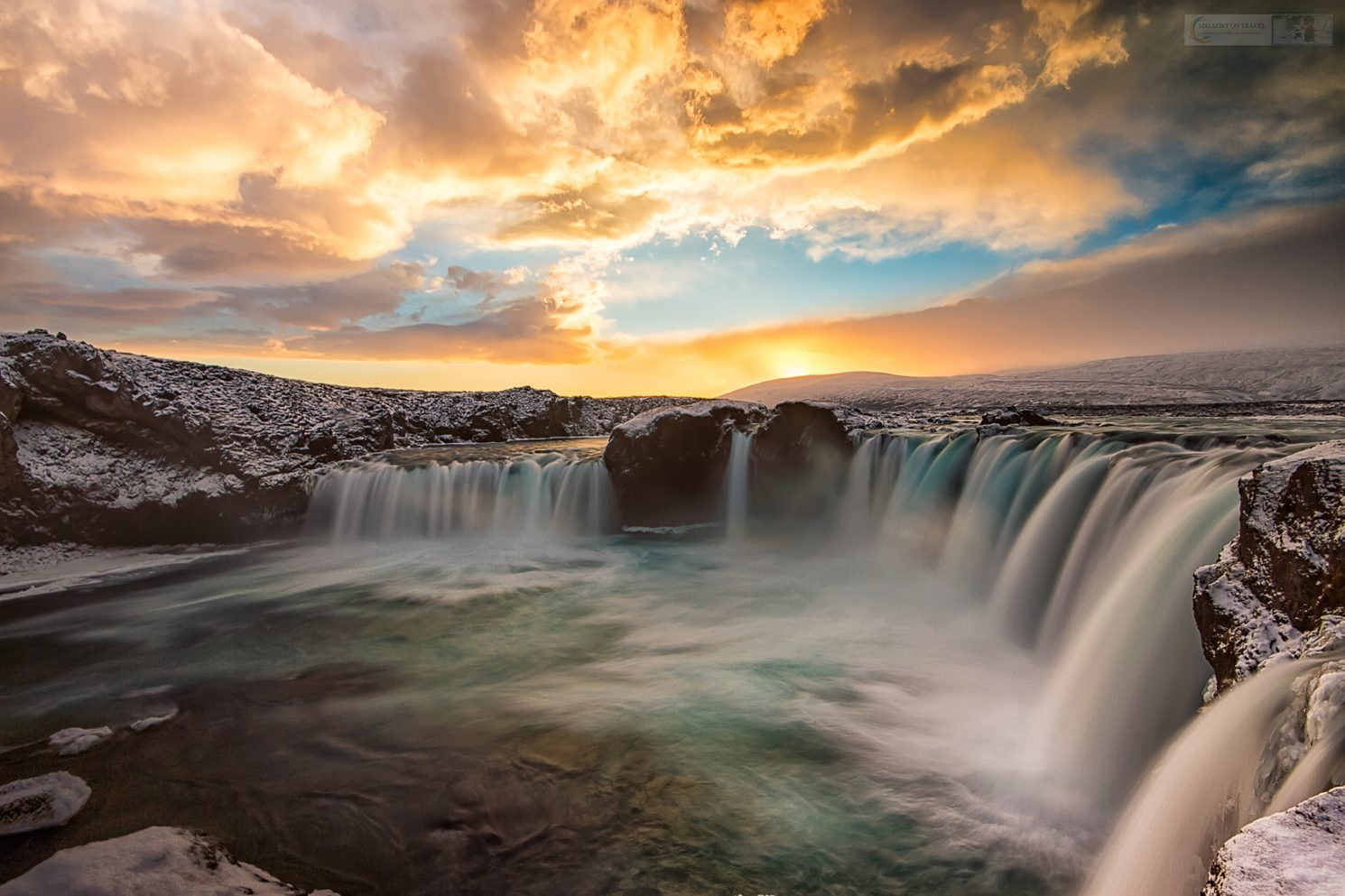 Winter at Gođafoss, the waterfall of the gods on the Skjálfandaflót River in Iceland, the Land of Fire and Ice on Mallory on Travel adventure travel, photography, travel Iain Mallory_Iceland 003