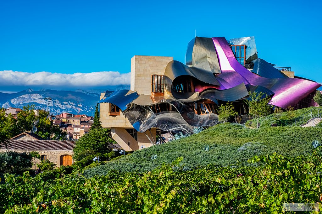 The Frank O, Gehry designed Marqués de Riscal hotel and winery known as the City of Wine near Laguardia in the Basque Country of Green Spain in the north of Spain on Mallory on Travel adventure travel, photography, travel Iain Mallory_Spain 001 (2)