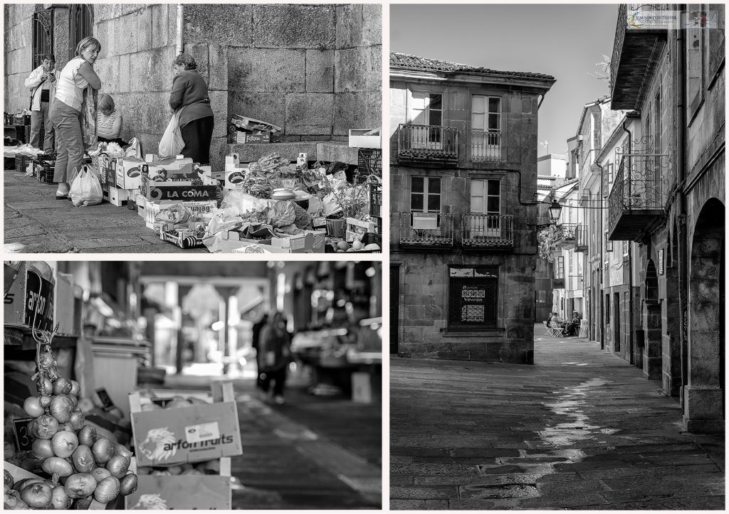 Market stalls and the streets of Santiago de Compostela capital city of Galicia in Green Spain on Mallory on Travel adventure travel, photography, travel Iain Mallory_Spain montage10