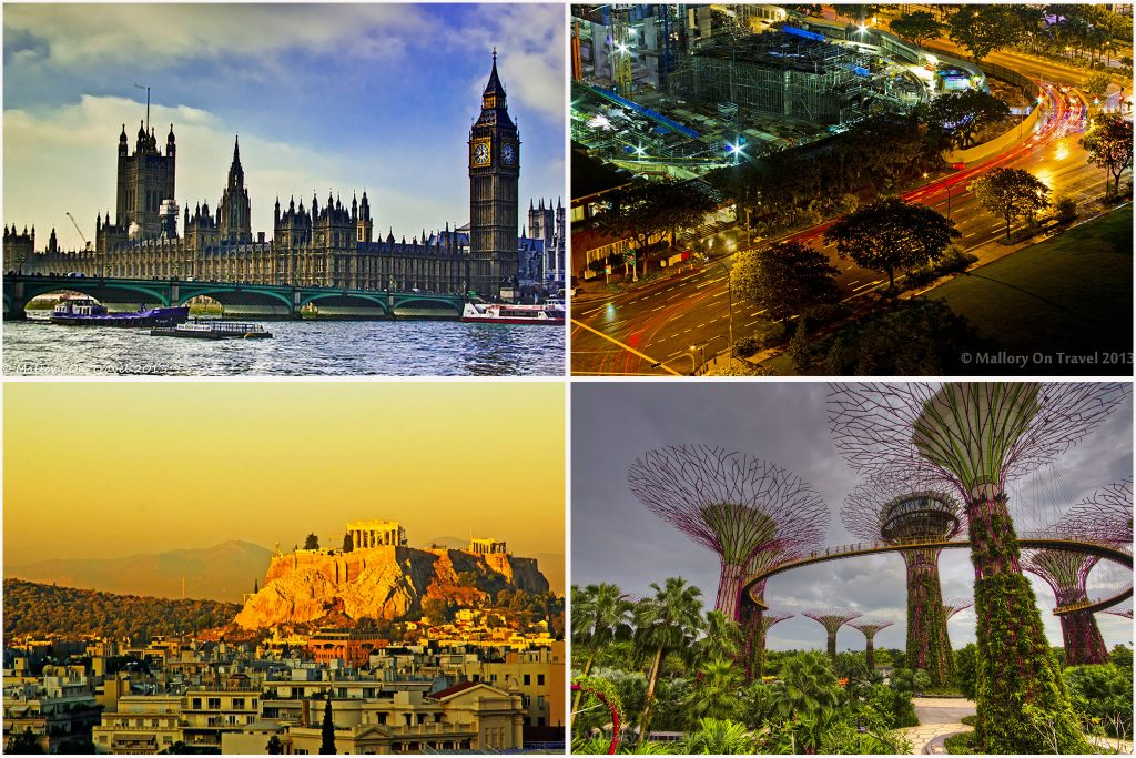 City break; A montage of cities, London, Singapore and Athens scenes and landmarks on Mallory on Travel adventure travel, photography, travel