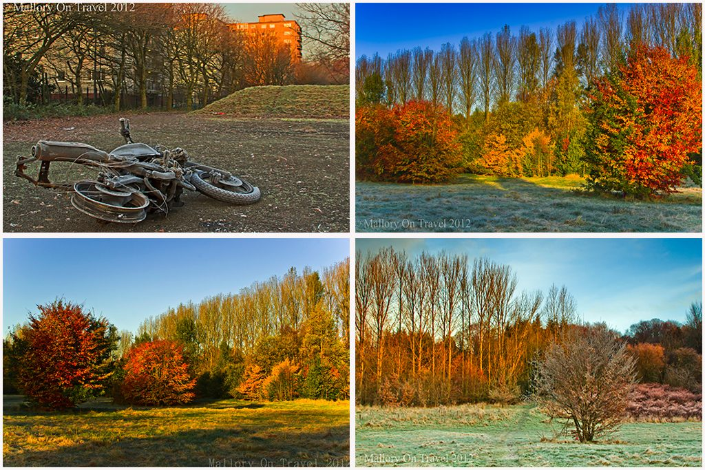 Outdoors in Autumn; Autumnal colours and frosty mornings in Salford, near Manchester on Mallory on Travel adventure travel, photography, travel